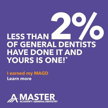 Master, Academy of General Dentistry. MAGD. Less than 2% of general dentists have done it, and yours is one.