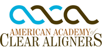 American Academy of Clear Aligners logo in blue, dark red and brown