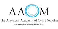 The American Academy of Oral Medicine logo in black and cyan