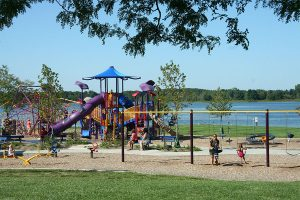 stony creek metropark play area overlooking the lake